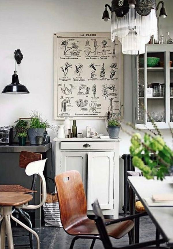 salon-industrial-plantes-vertes-chaises-en-bois-lustre-baroque-meubles-cocooning