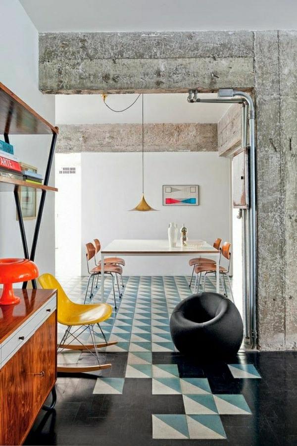 salon-moderne-cuisine-meubles-industriels-chaise-berçante-jaune
