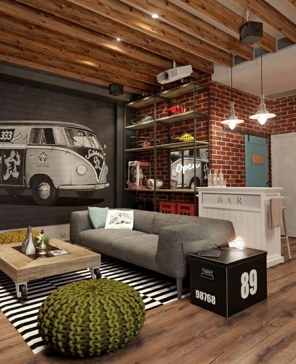 salon-moderne-industriel-mur-en-briques-canapé-gris-table-basse-en-bois