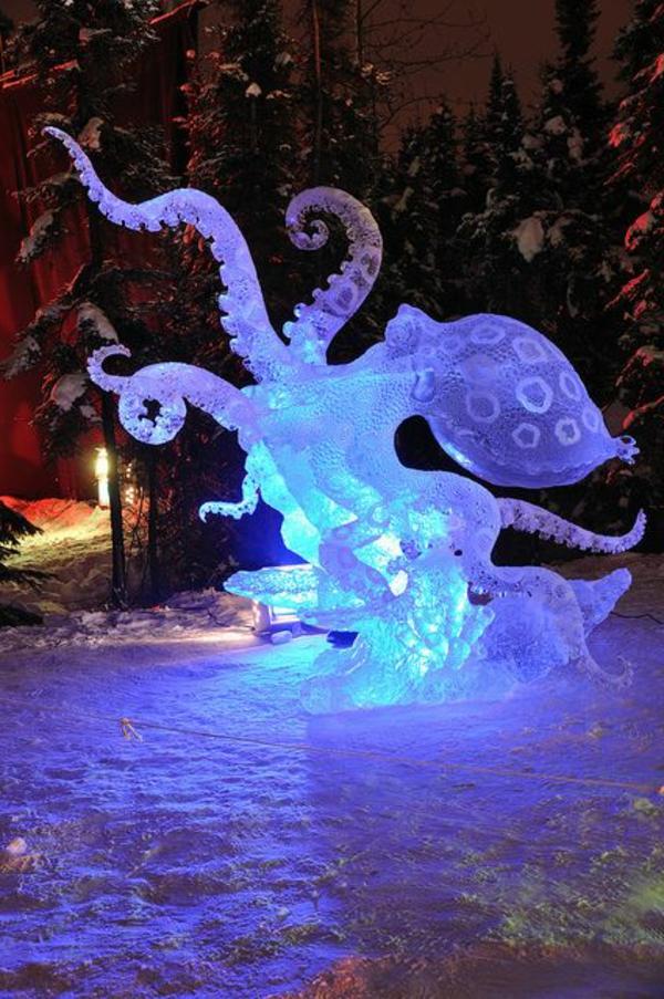 sculpture-de-glace-créature-marine