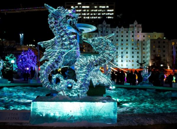 sculpture-de-glace-deux-dragons-de-mer