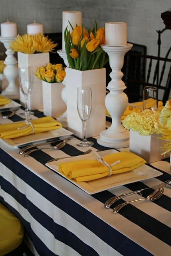 set-de-table-élégant-nappe-blanc-noir-aux-rayures-serviette-de-table-en-tissu-jaune