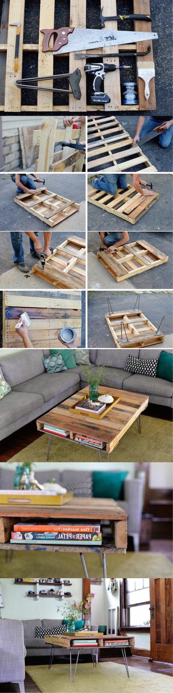 50 id es pour une table basse avec palette - Fabriquer une table basse avec des palettes ...