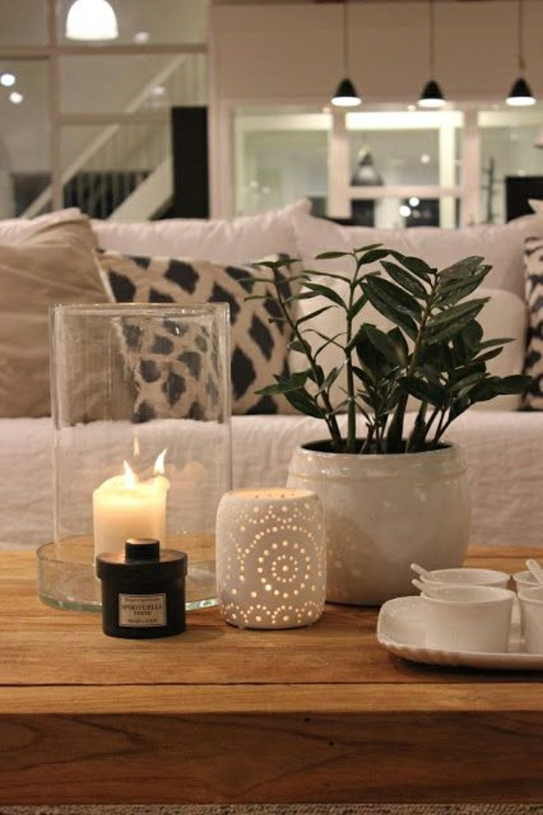 table-basse-en-bois-salon-bougie, plantes-vertes-coussins-décoratifs