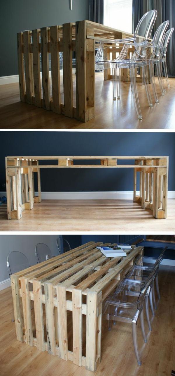 table-en-palette-idée-moderne-salon-chaises-transparents