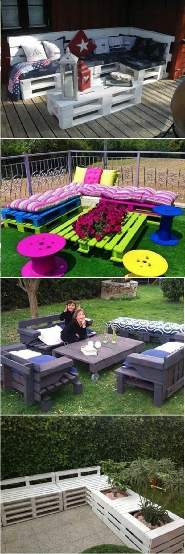 tables-de-jardin-en-palettes-colorés-idée-insolite-meubles-en-palettes