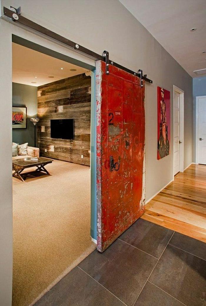 La porte coulissante en 43 variantes magnifiques - Transformer une porte en porte coulissante ...