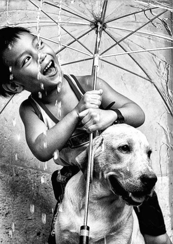 une-photographie-amusante-en-noir-et-blanc-enfant-et-chien-pluit-parapluit