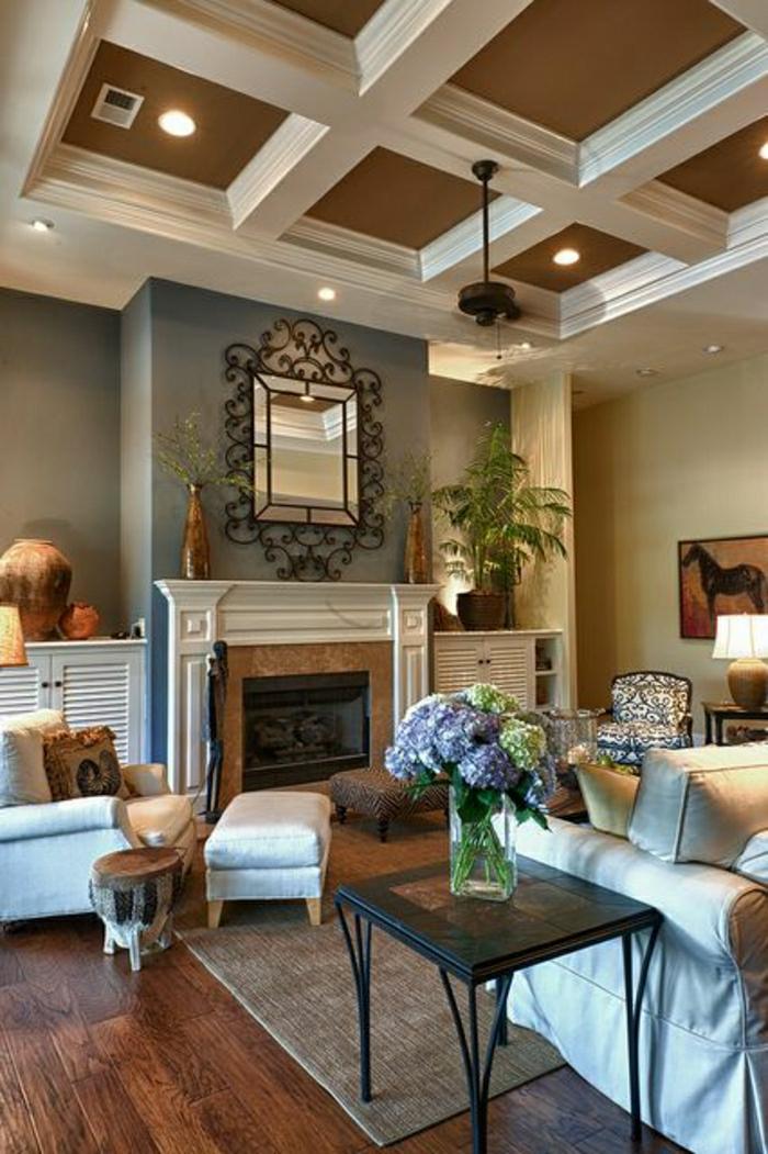 ventilateur-design-classique-chambre-moderne-salon-parquet-en-bois-foncé-fleurs-table-basse