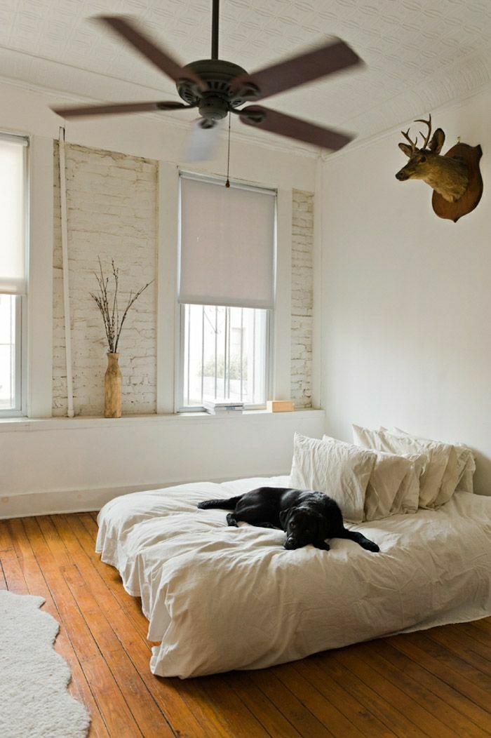 ventilateur-plafond-lustre-insolite-chambre-a-coucher-chien-sur-le-it-murs-en-briques