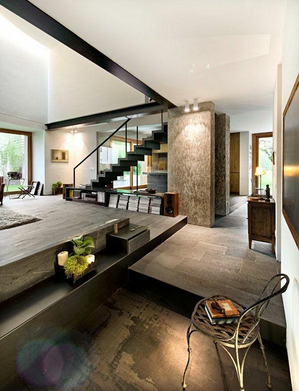 villa-contemporaine-beau-intérieur-industriel
