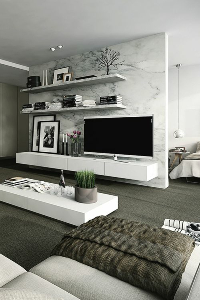 comment d corer le mur avec une belle tag re murale. Black Bedroom Furniture Sets. Home Design Ideas