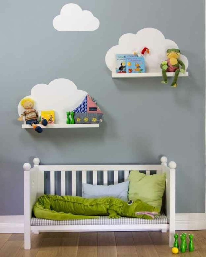 étagère-murale-petite-étagère-pour-la-chambre-d-enfant-mur-gris-lit-bébé
