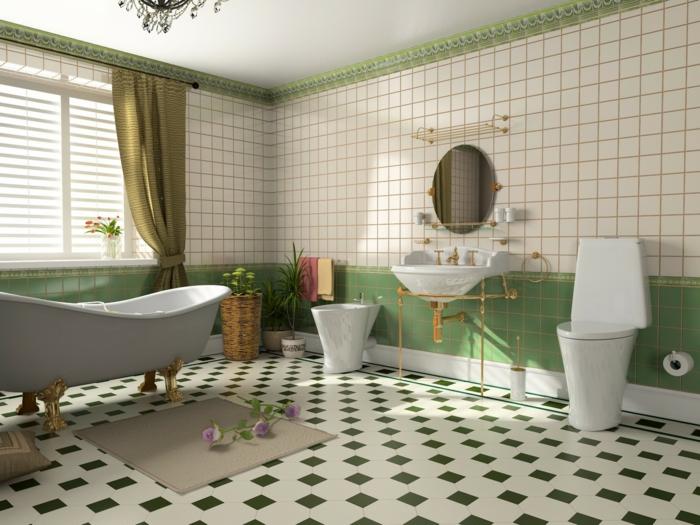Le th me du jour est la salle de bain r tro for Carrelage salle de bain vert et blanc