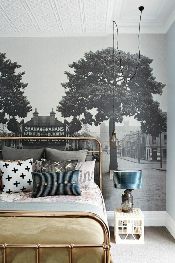 chambre-ado-fille-idée-créative-lit-de-fer-peinture-sur-mur-photo-image-muraux