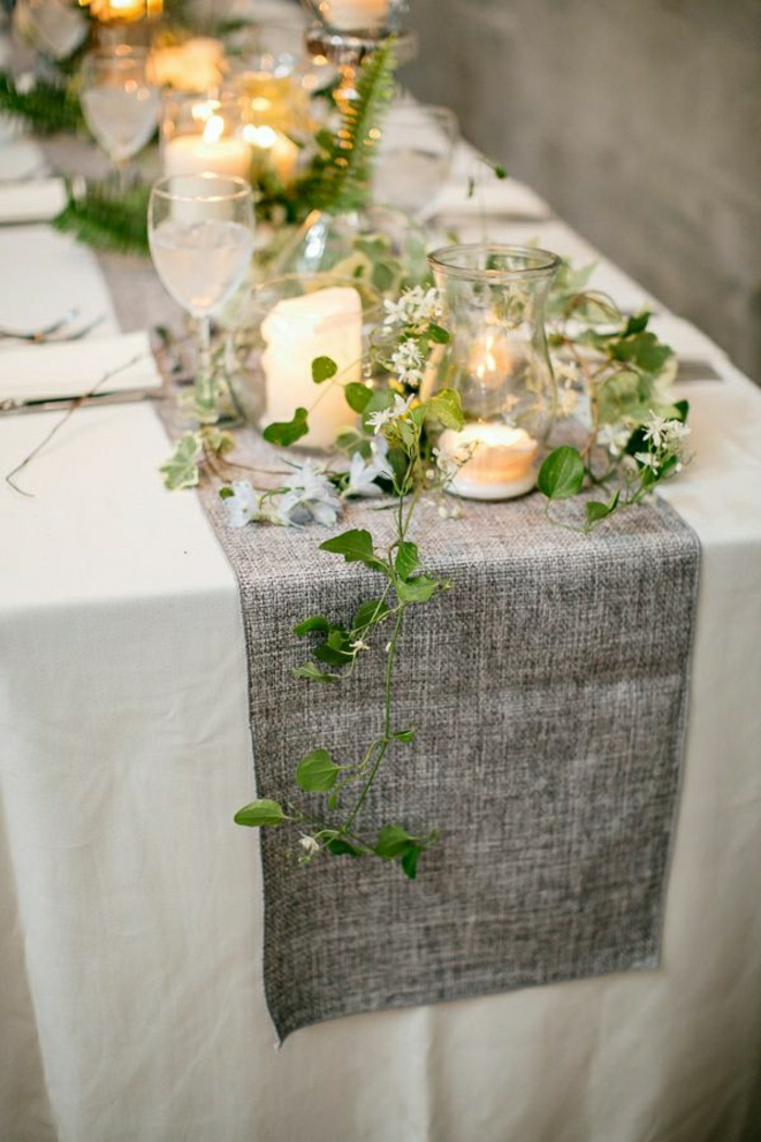 1-chemin-de-table-mariage-idée-nappe-de-mariage-blanche-décoration-plante-verte