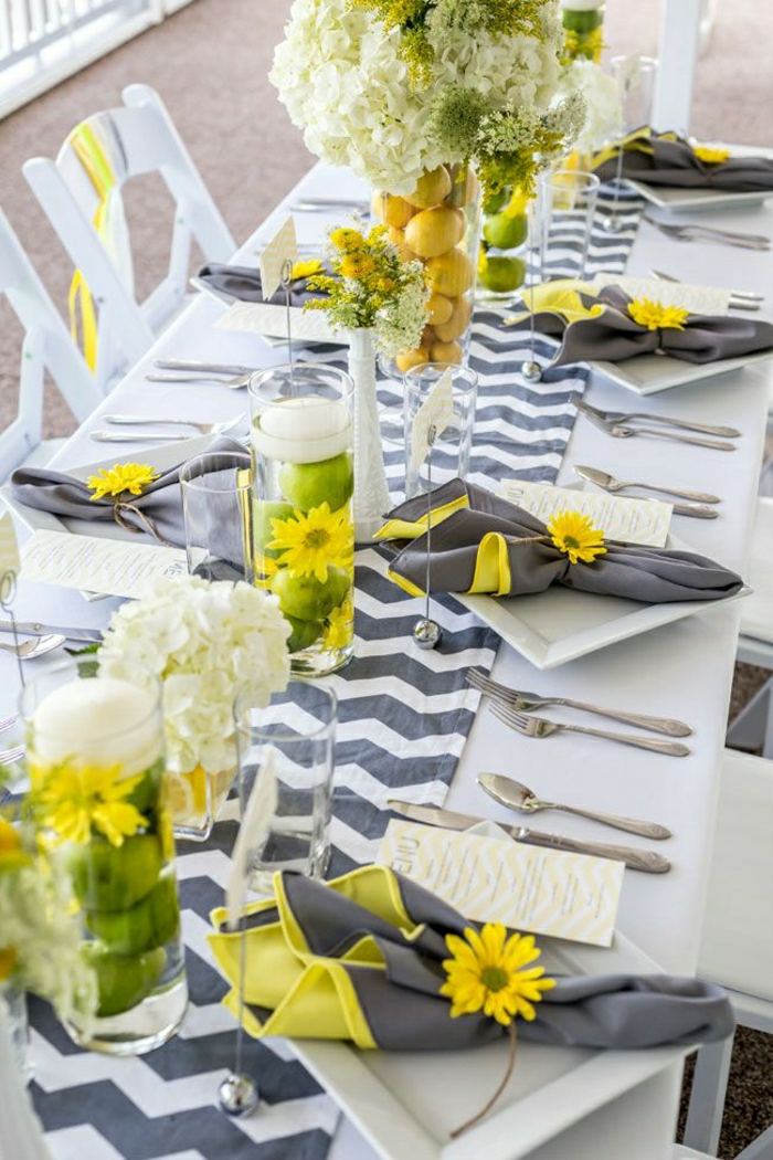 1-chemins-de-table-gris-blanc-jaune-tournesol-décoration-nappe-blanche