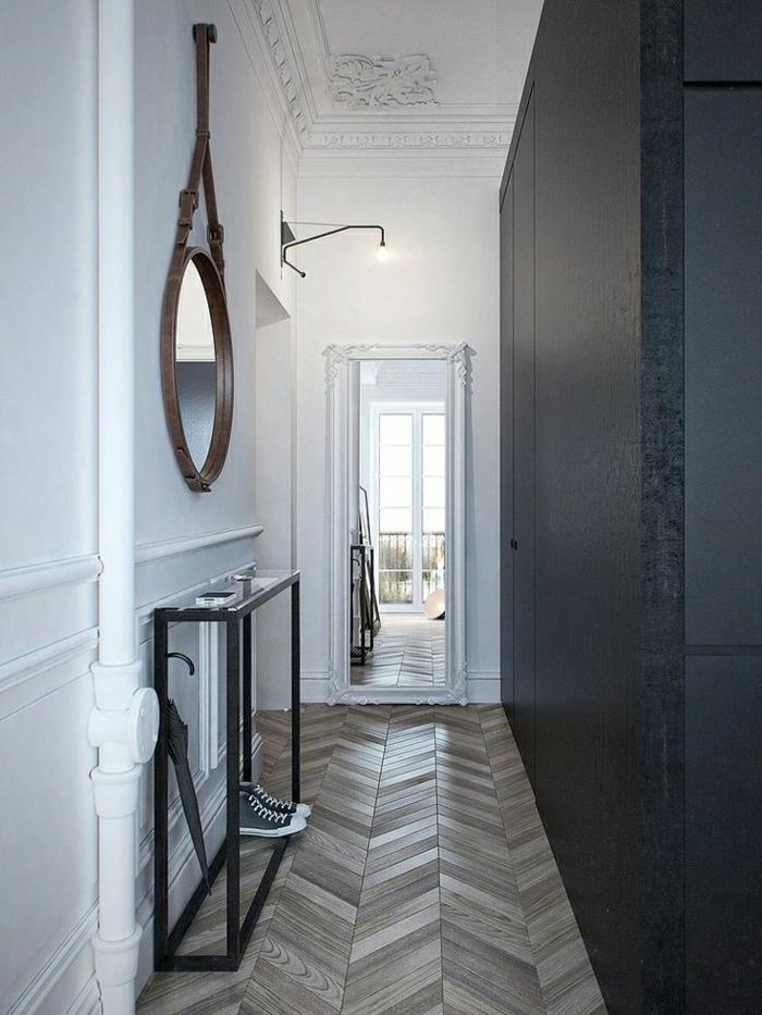 1-console-d-entrée-meubles-d-entrée-couloir-avec-mur-noir-sol-en-parquet-bois-massif