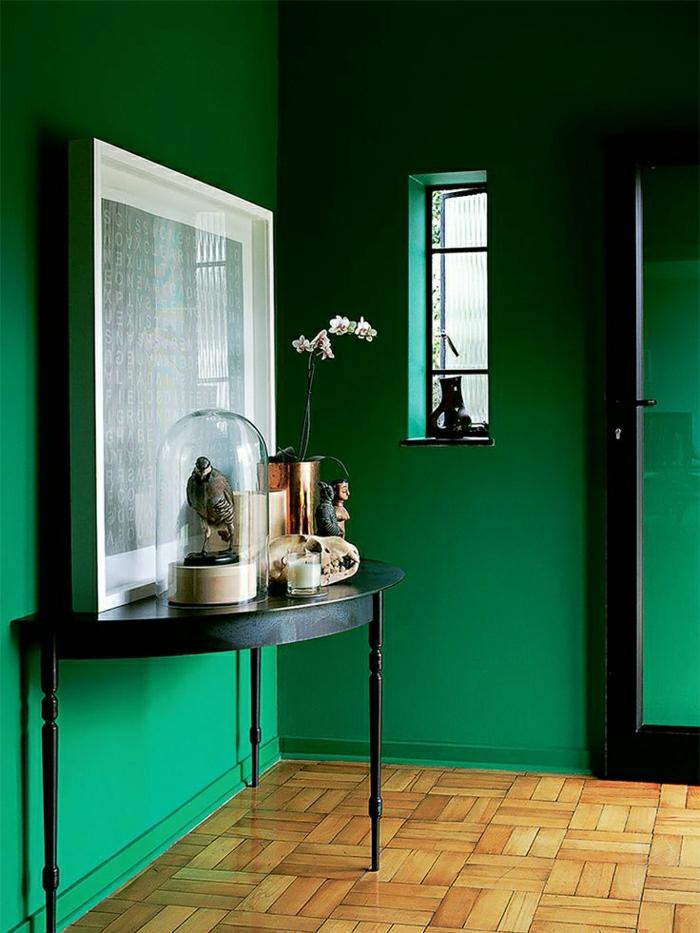 1-console-d-entrée-meubles-d-entrée-couloir-avec-mur-vert-table-d-entré-en-bois-mur-vert