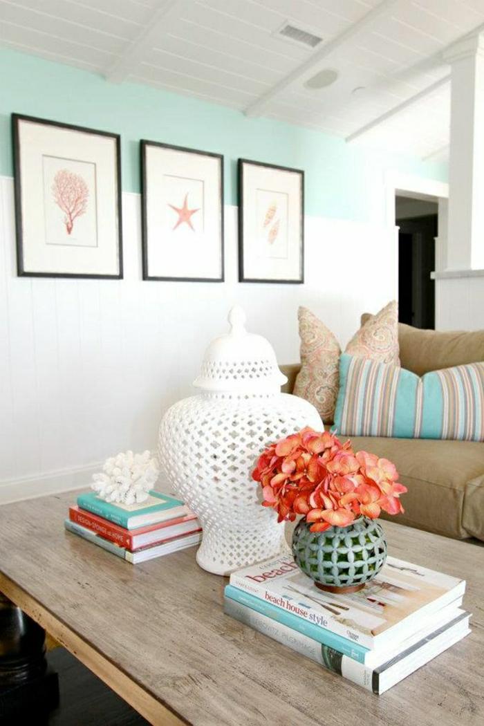 1-couleur-turquoise-turquoise-bleu-roi-peintures-murales-mur-bleu-table-basse-de-salon-en-bois