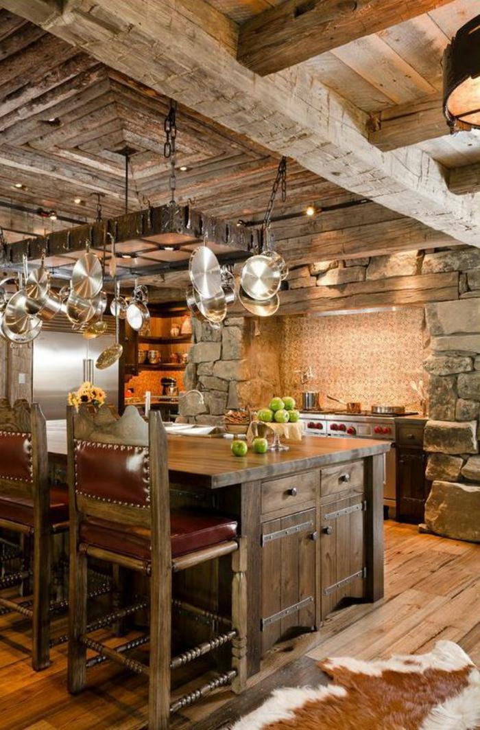 1-cuisine-rustique-meuble-massif-tapis-en-peau-d-animal-meuble-en-chene