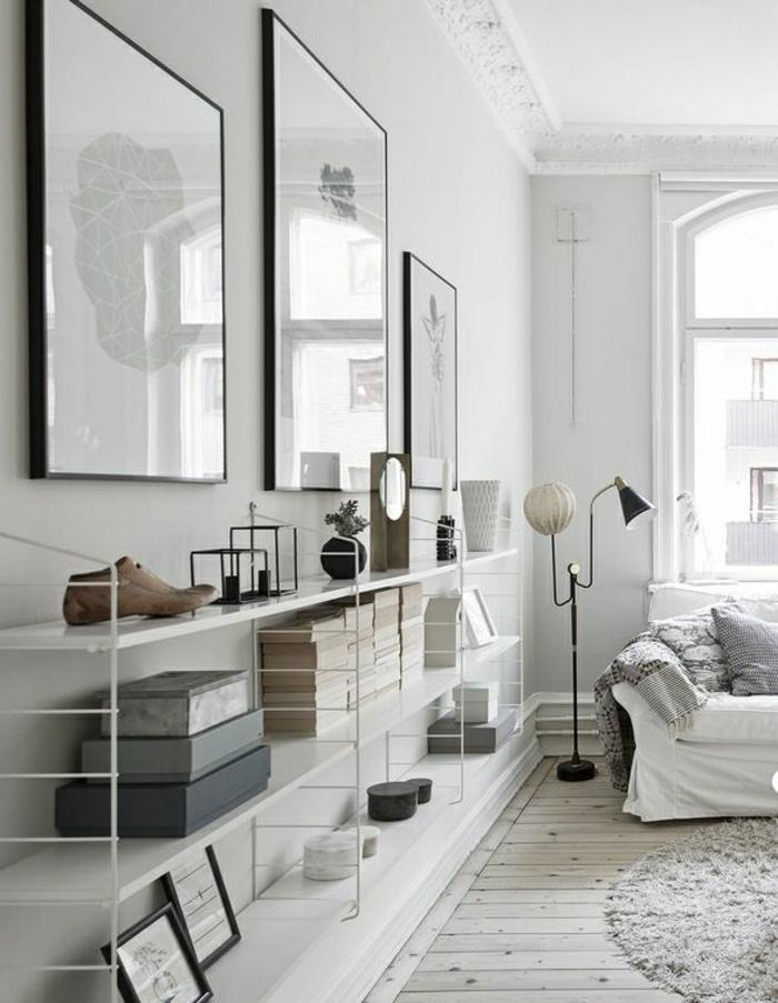 Idée Rangement Chambre Petite : etagere-en-fer-forgé-blanc-photos-murales-sol-planchers-tapis-beige …
