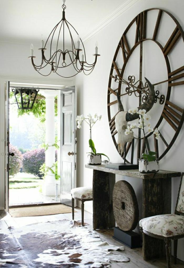 1-ikea-meuble-d-entrée-console-bois-foncé-marron-intérieur-baroque-lustre-en-fer-forgé