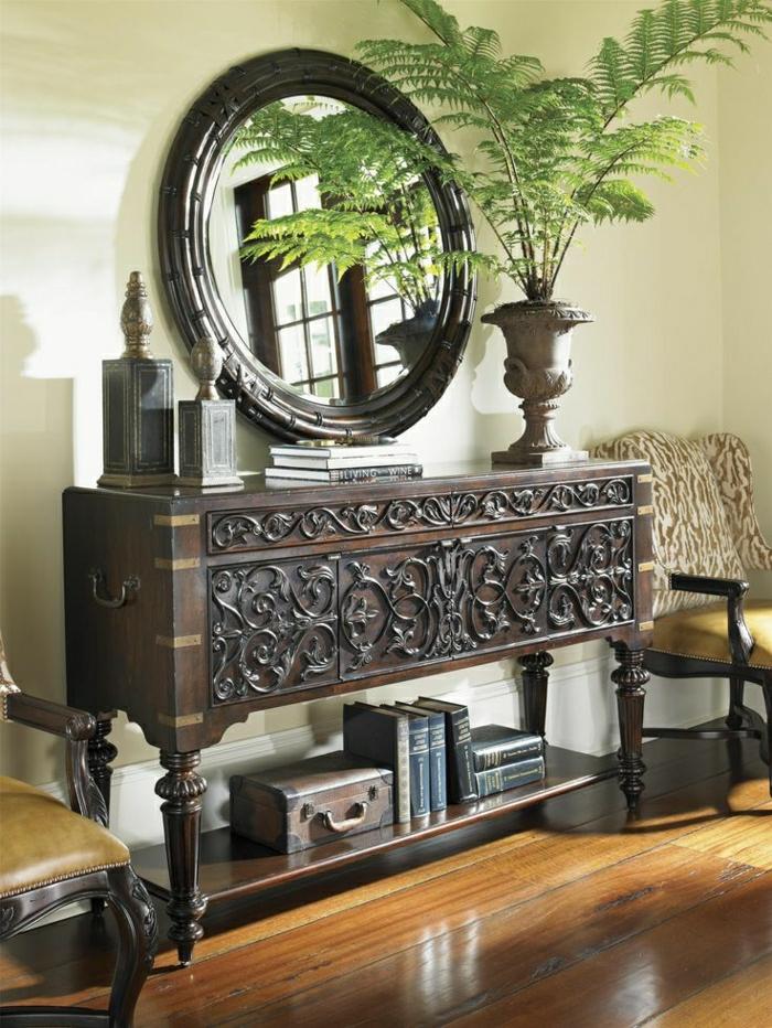 1-ikea-meuble-d-entrée-console-bois-foncé-marron-miroir-plante-verte-aménagement-baroque