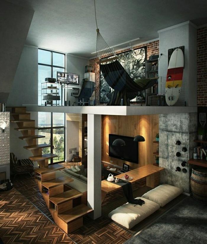 1-maison-atypique-mur-de-verre-loft-atelier-esprit-loft-escalier-en-bois