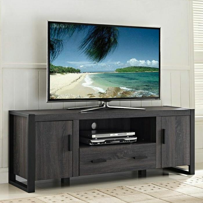 Meuble Tv Blanc Marron : Meuble Tv, Meuble Télé En Noir, Salon Design, Chambre Blanc, Mur