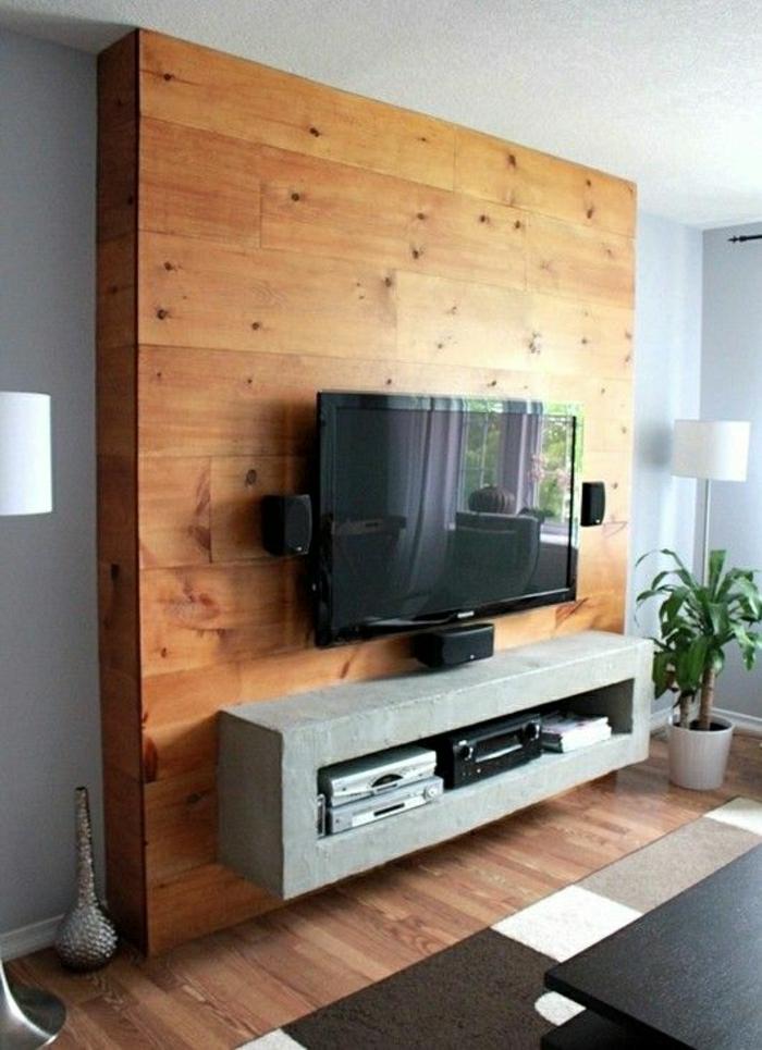1-meuble-télé-gris-mur-en-bois-mur-gris-sol-en-parquet-clair-tapis-blanc-noir-lampe-deboute