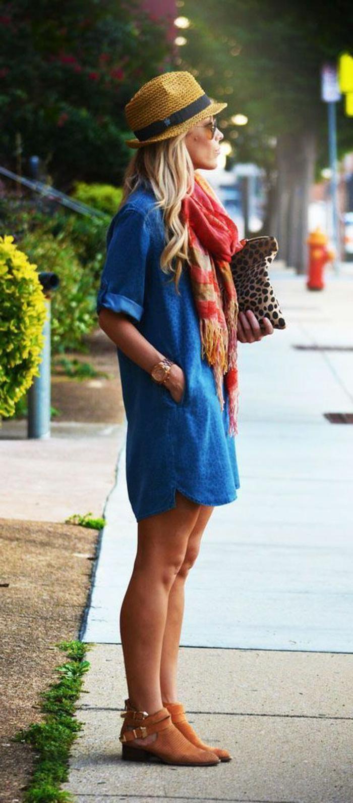 1-robe-d-été-femme-blonde-chapeua-paille-robe-chemise-lunettes-de-soleil