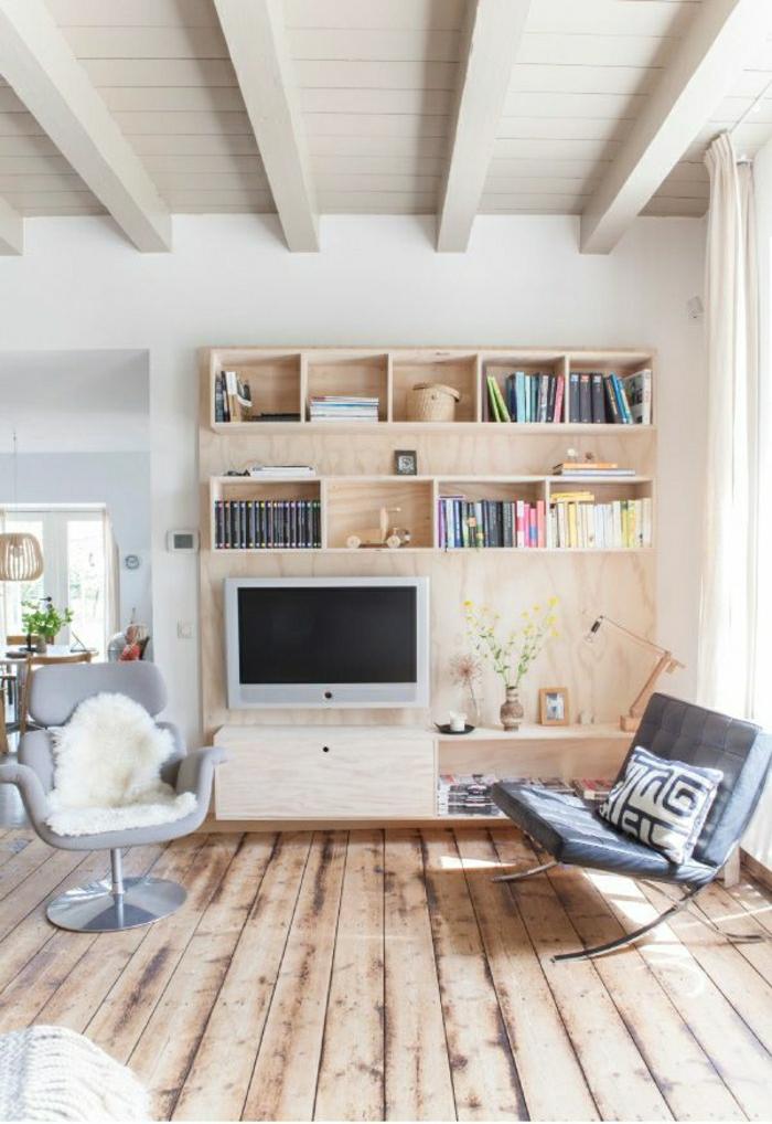 1-salon-design-lumineu-sol-en-plancher-meuble-télé-en-bois-clair-fauteuil-gris