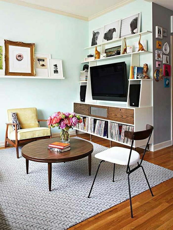 Sala De Estar Wdk Letra ~ sol en parquetmur bleuciel, tv noir, meuble design, meuble tv led