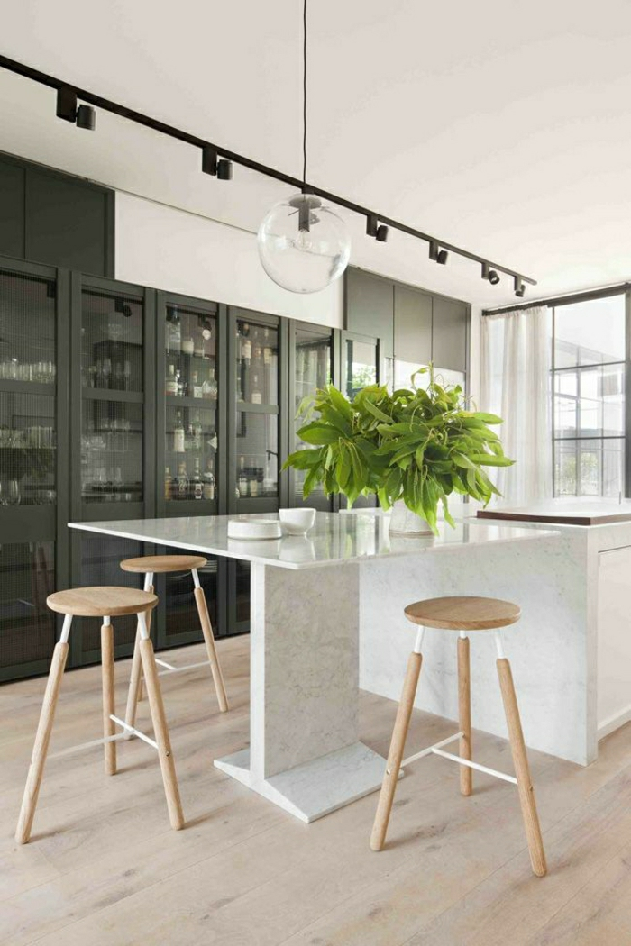On vous pr sente la table en marbre for Table haute cuisine bois