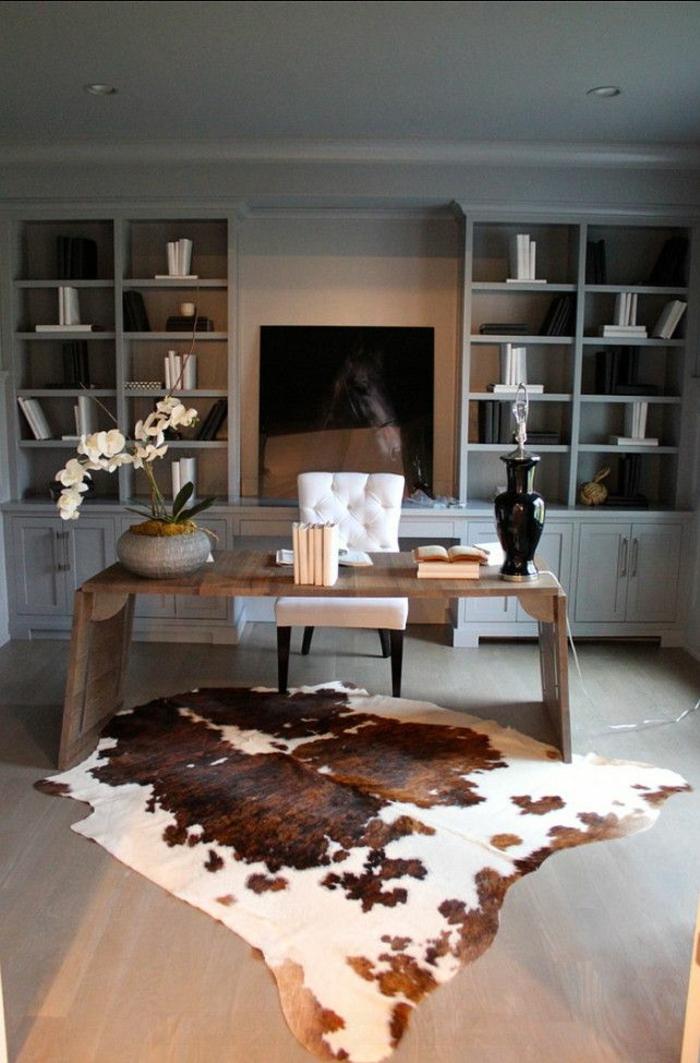 1-tapis-en-peau-parquet-bureau-de-travail-domicil-bibliothèque-en-bois