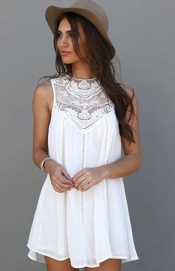 1-une-jolie-robe-habillée-robe-d-été-blanche-fille-brunette-chapeau