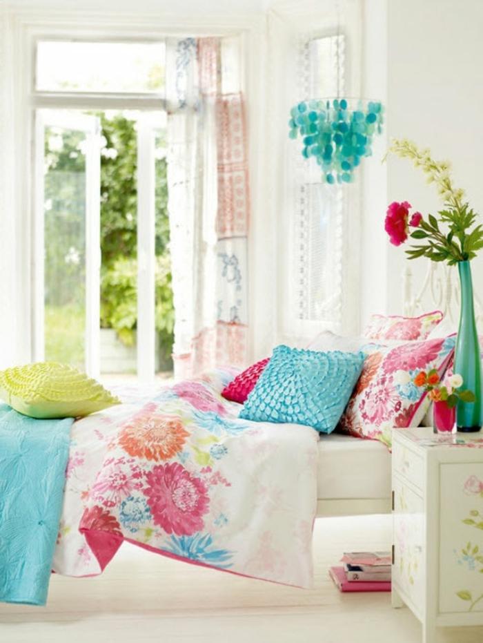 chambre-ado-fille-idée-créative-couleur-jardin-fleurs-vase