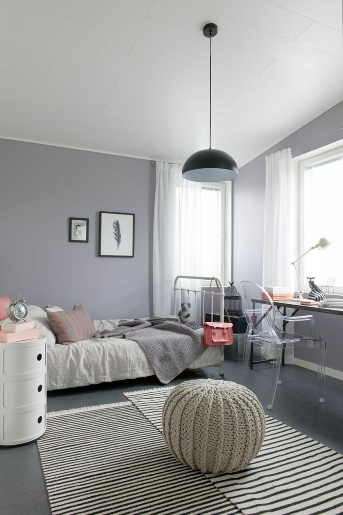chambre ado fille gris et mauve. Black Bedroom Furniture Sets. Home Design Ideas