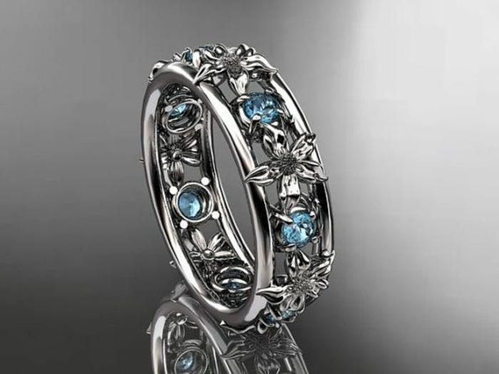 Anneau-aigue-marine-pierre-fleurs-bague-deux-anneaux