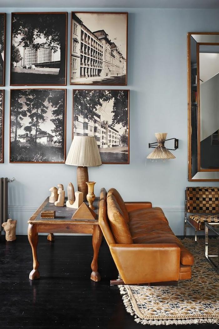 Appartement-lux-style-couleurs-caramel-bleu-clair-mur-bois-table-salon-sofa-tapis