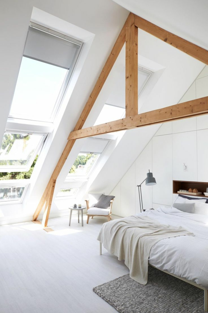 Appartement-romantique-toit-fenêtre-chambre-à-coucher-blanche