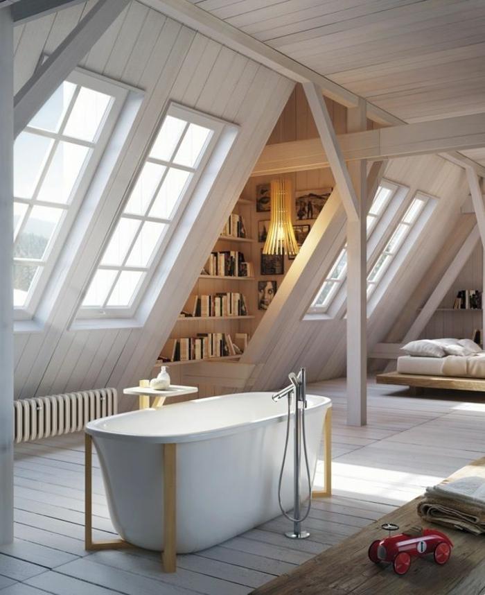 Appartement-romantique-toit-fenêtre-salle-de-bain-lumineuse