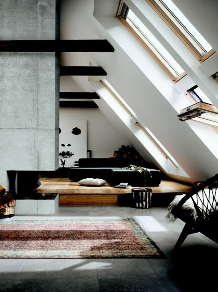Appartement-romantique-toit-fenêtre-tapis-oriental