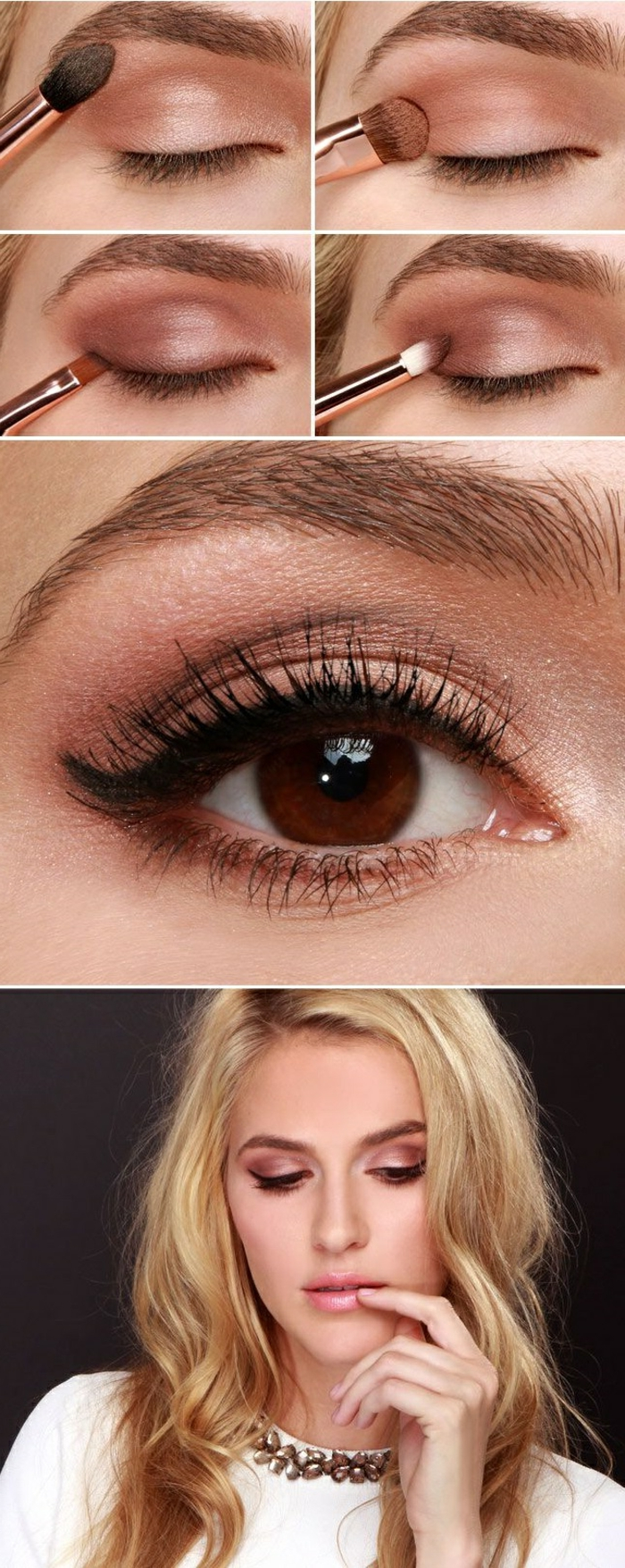 Béauté-maquillage-yeux-marrons-blonde-cheveux-longs