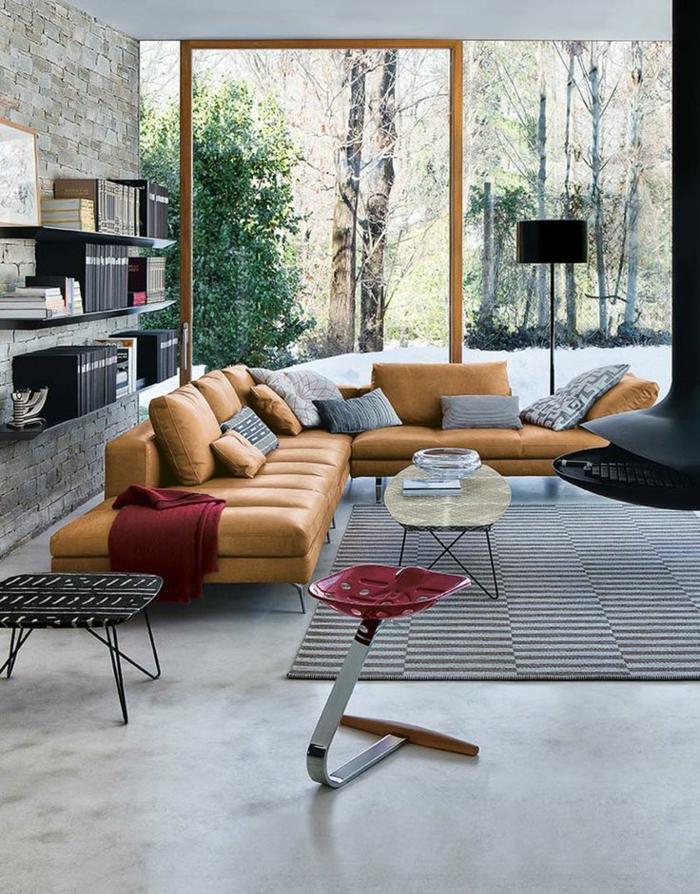 Caramel-couleur-intérieur-idee-creative-beau-salon-gris-porte-fenetre