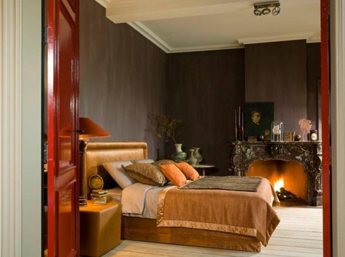Couleur-caramel-intérieur-idees-creatives-chambre-a-coucher