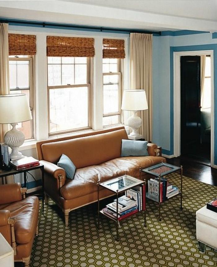 Couleur-caramel-sur -murs-et-mobilier-tapis-canape-en-cuir