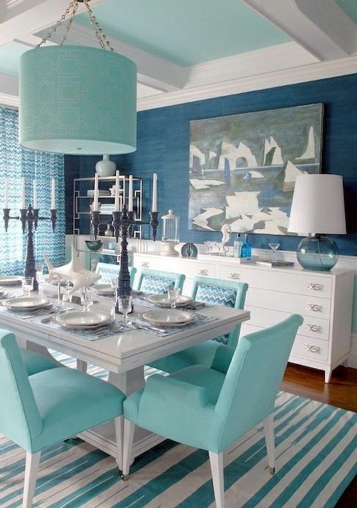 Couleur Peinture Chambre À Coucher : Déco-intérieur-aigua-mer-marine-salle-a-manger-table-chaises