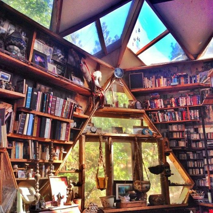 Fenêtres-de-toit-velux-lucarne-bibliothèque-meuble-dans-la-foret